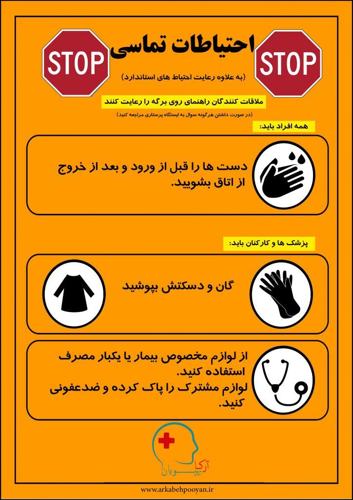 پوستر آموزشی احتیاطات تماسی