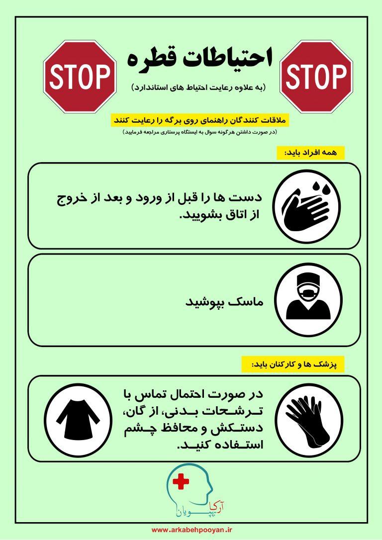 پوستر آموزشی احتیاطات قطره